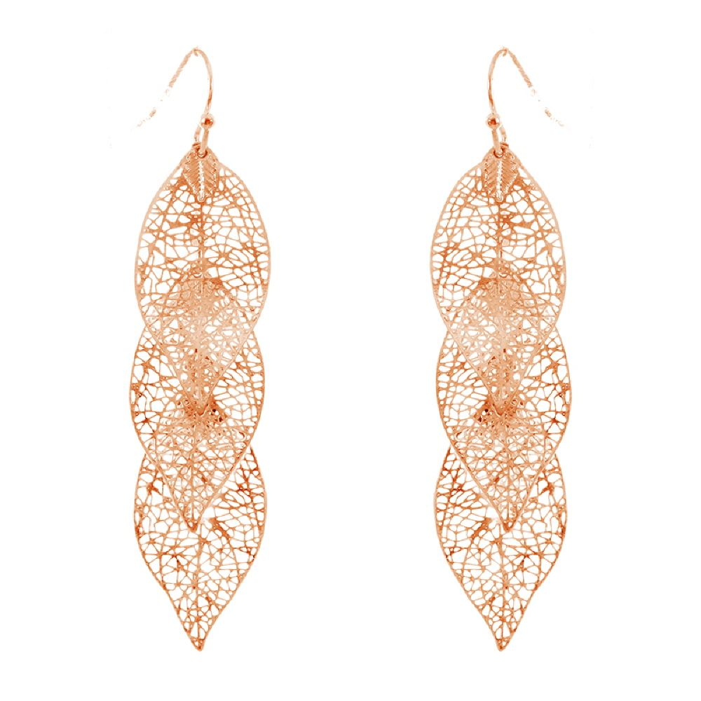 Metal Filigree 3 Layered Leaf Drop Earring
