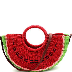 Handmade Natural Straw Watermelon Print Novelty Straw Basket Purse with Strap