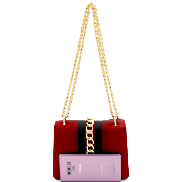 Chain Accent Center Striped Jelly 2 Way Shoulder Bag