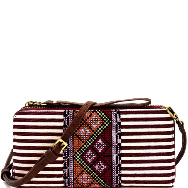 Aztec & Stripe Print Versatile Organizer Cross Body Bag