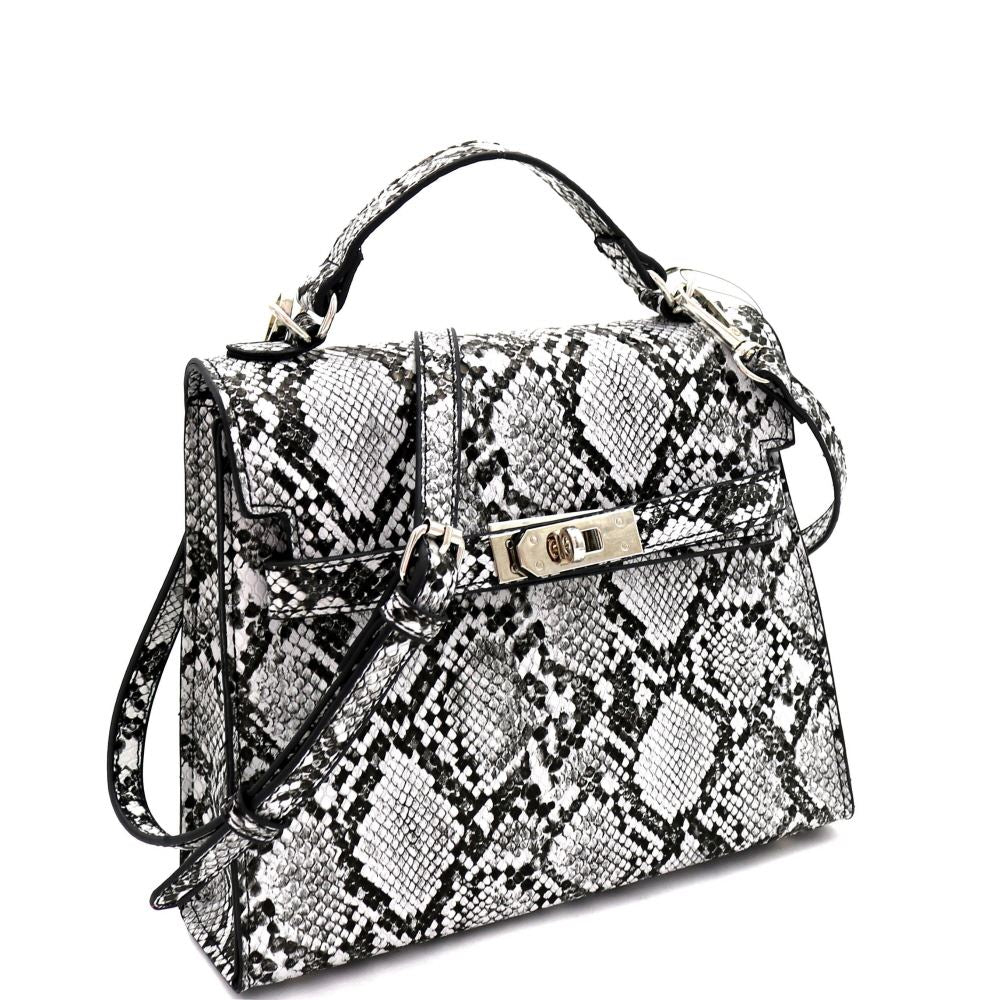 Snake Print Turn-Lock Neon Medium Satchel Shoulder Bag