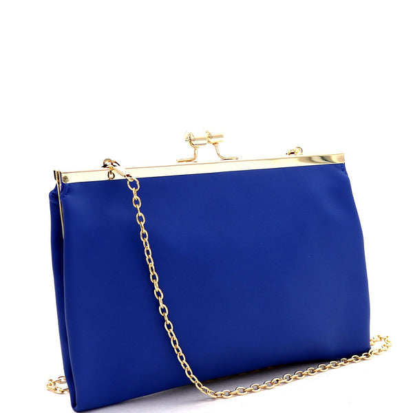 Kiss-Lock Accent Frame PU Leather Clutch with Chain Strap