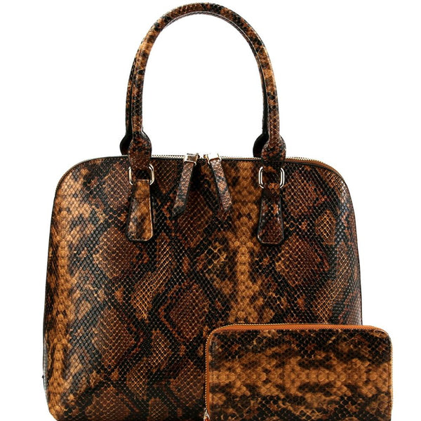Snake Print 2-Way Dome Satchel Wallet SET