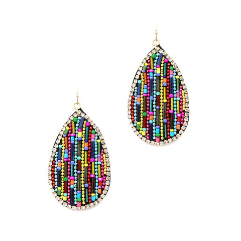 Multicolor Handmade Beaded Rhinestone Trim Boho Teardrop Earring