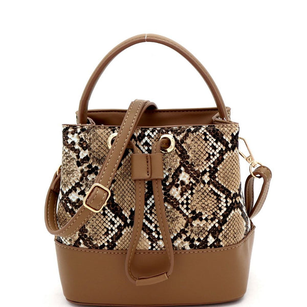 Snake Print Drawstring Medium Satchel Shoulder Bag