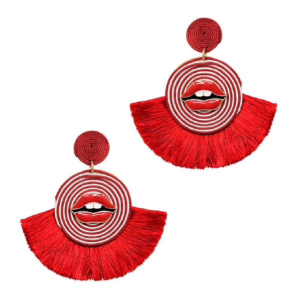 Lip Point Rolled Straw Thread Pan Tassel Round Novelty Earring