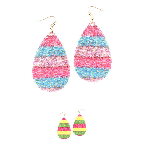 Multicolored Neon Glitter Oversized Teardrop Earring