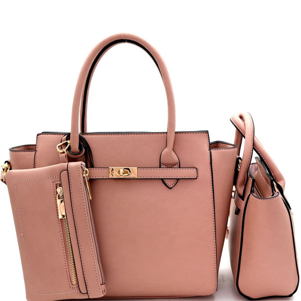 Classy 3 IN 1 Wing PU Leather Twin Satchel Purse with Wristlet Value SET