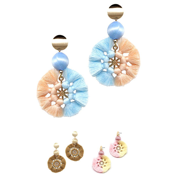 Knotted Thread Tassel 2-Tone Round Dangle Boho Earring