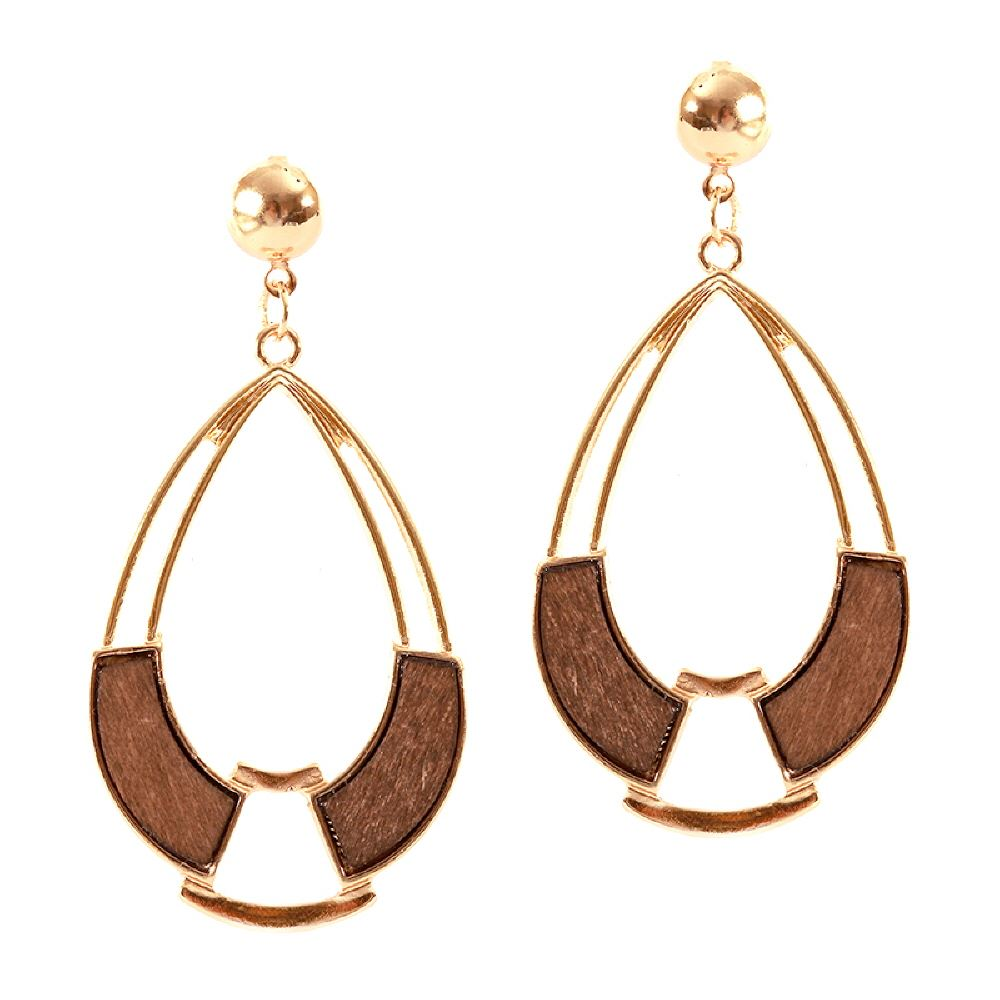 Natural Wood Accent Open-cut Geometric Metal Teardrop Dangle Earring