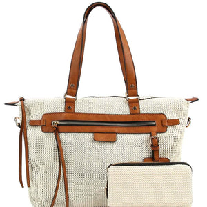 2fe576c31c2 Knitted Straw Two-Tone Tote Bag and Wallet SET – Trendeology