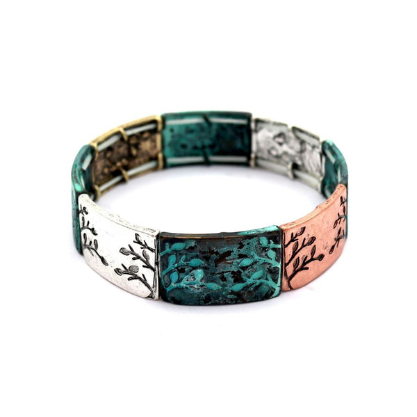 Tree of Life Carved Mixed Metal Charm Elastic Bracelet