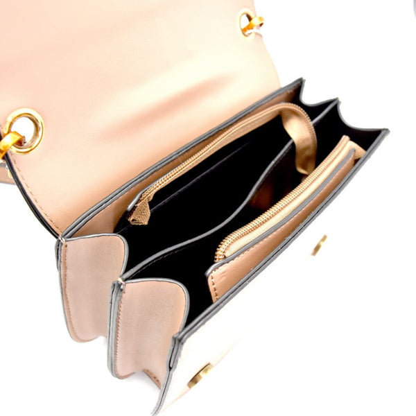 Key Charm Mixed-Material Flap Shoulder Bag