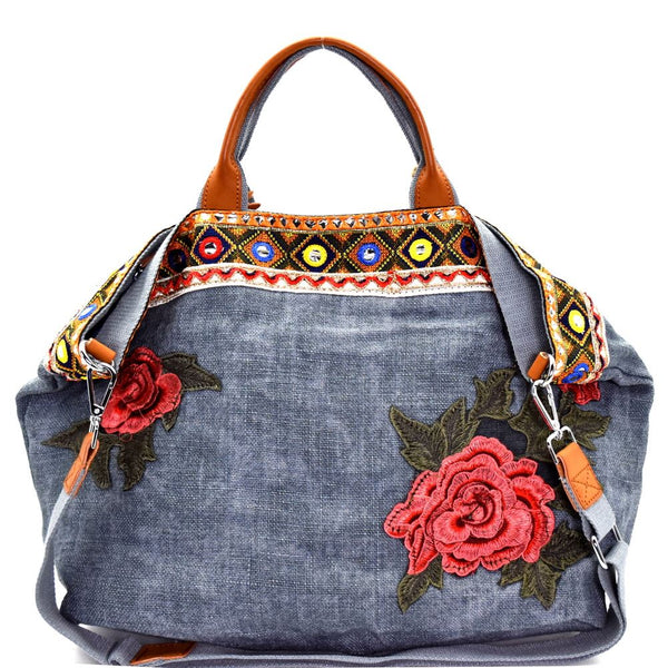 Flower and Ethnic Embroidery Folded Corner Linen Tote Bag Purse