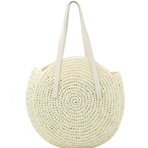 Circled Pattern Straw Round Tote