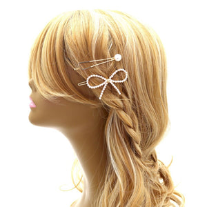 Plastic Pearl 2-Piece Hair Pin Bow