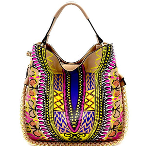 Dashiki Ethnic Print Chain Accent 2-Way Hobo Purse Bag