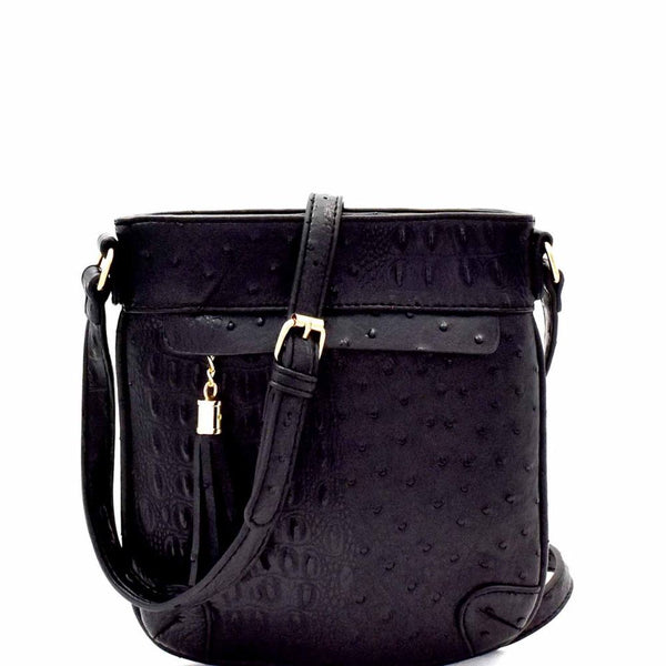 Ostrich Embossed Tassel Accent Cross Body Bag