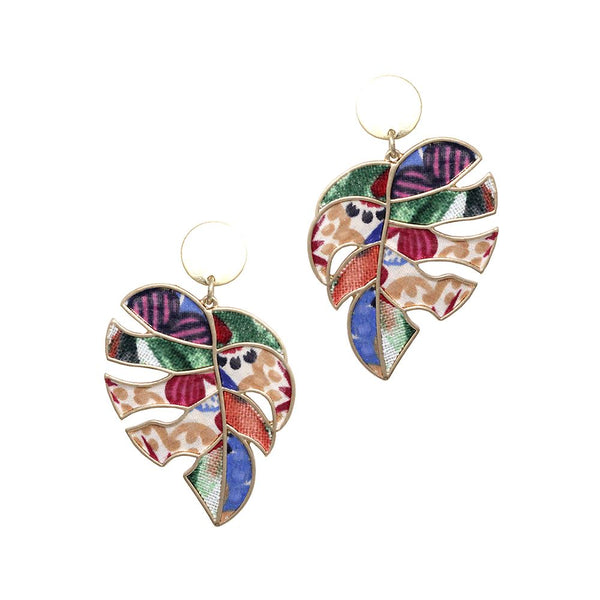 Multi Boho Print Coloful Canvas Metal Leaf Post Earring