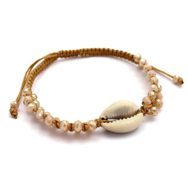 Cowrie Shell Beaded Handmade Anklet Bracelet Brown