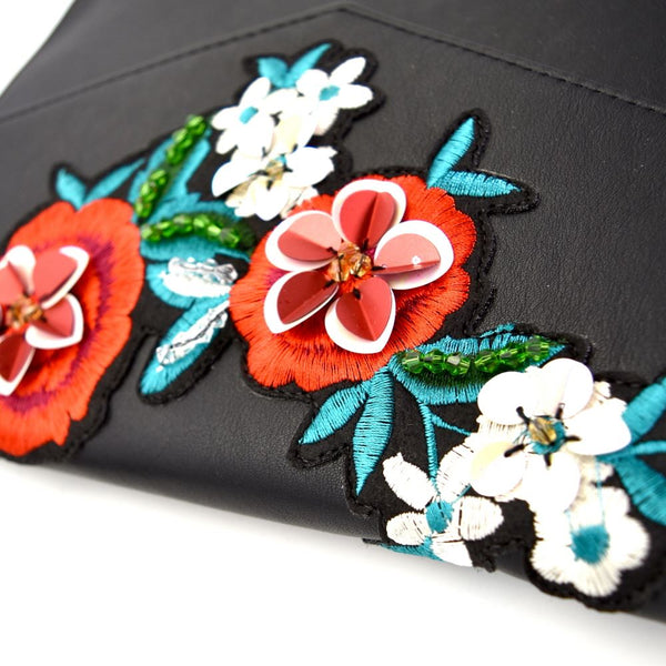 Flower Embroidery Envelope Clutch