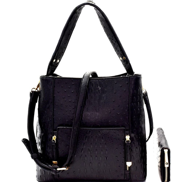 Front Pocket Multi-Compartment Hobo Black