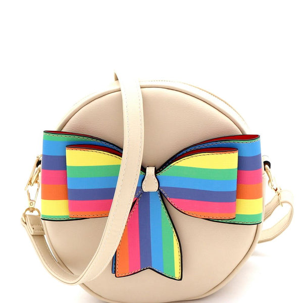 Multi-colored Striped Bow Accent Round PU Leather Shoulder Bag
