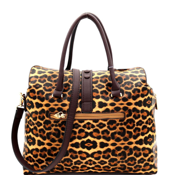 Padlock Accent Leopard Print 3-Compartment Doctor Bag Satchel Bag