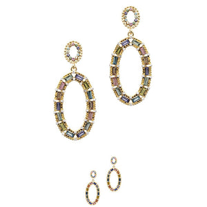 Baguette Stone Rhinestone Open-cut Oval Dangle Earring