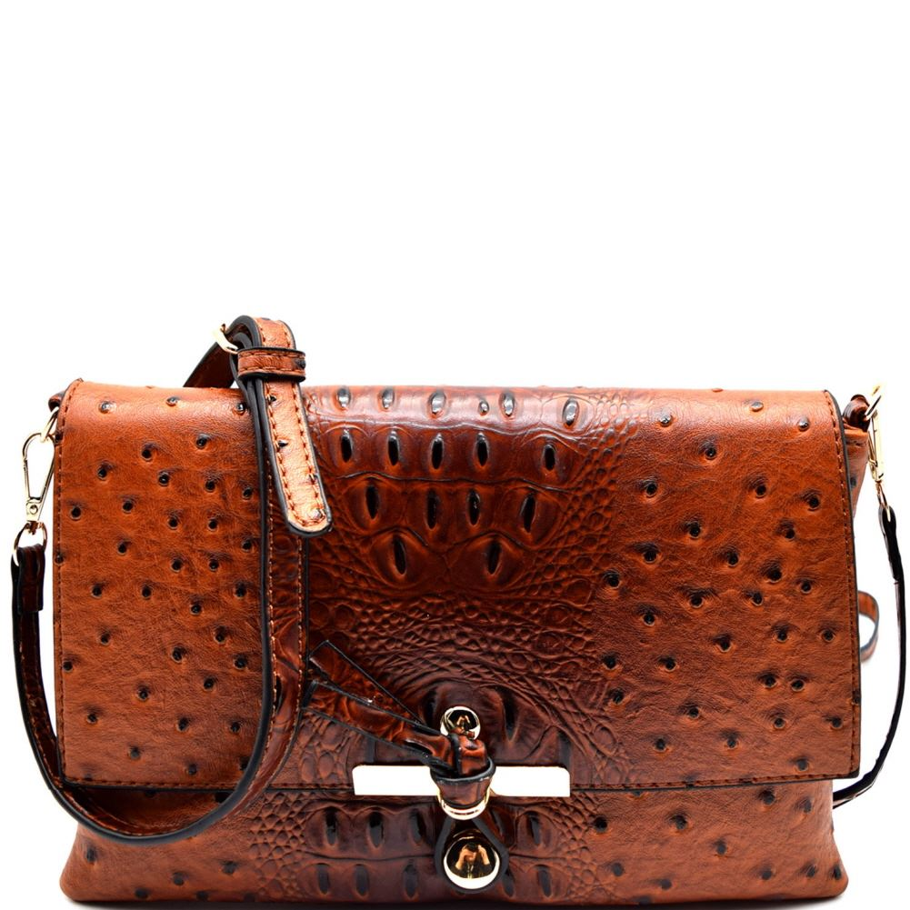 Ostrich Print Embossed Knot Accent Flap Cross Body