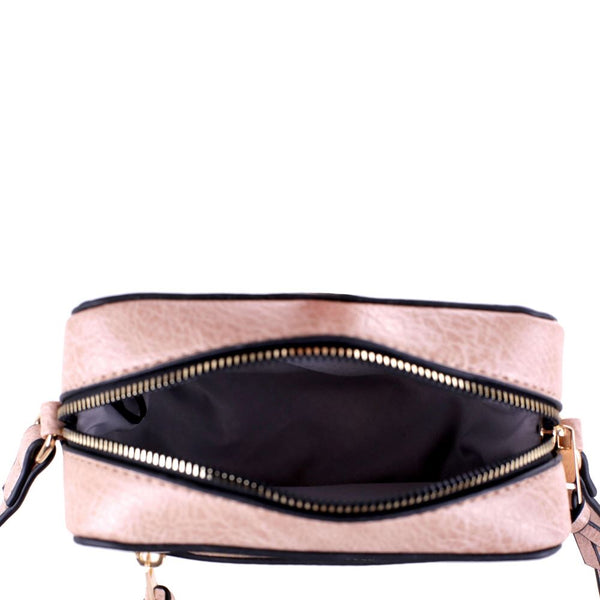 Zipper Accent Boxy PU Leather Cross Body Shoulder Bag