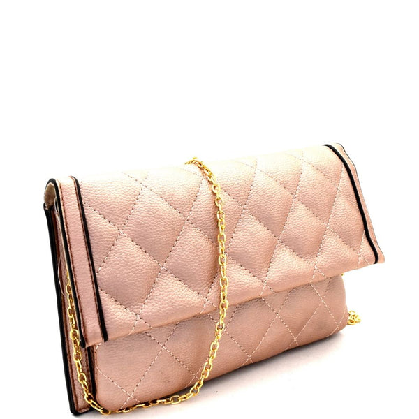 Multi-Compartment Quilted PU leather Clutch