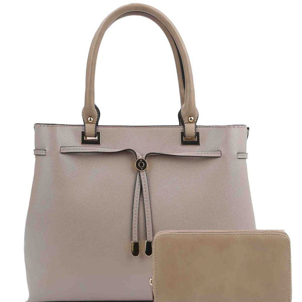 String Accent PU Leather 2-Way Satchel Purse and Wallet SET