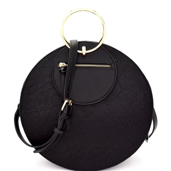 Metal Handle Accent PU Leather Round Satchel Bag