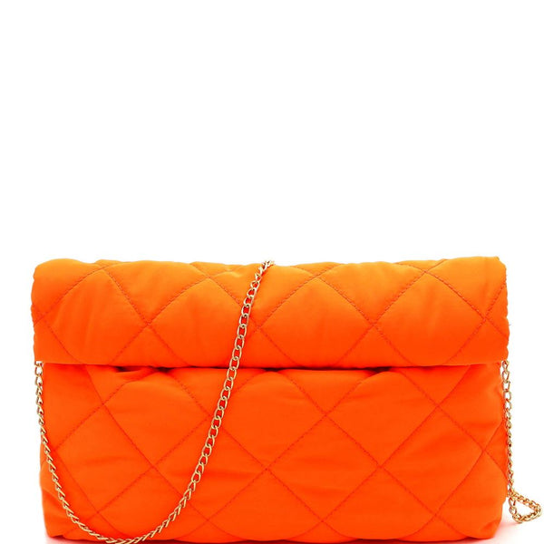 Quilted Nylon Roll-Up Clutch with Chain Strap