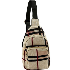 Unisex Checker Plaid Print Linen Cross Body Sling Bag