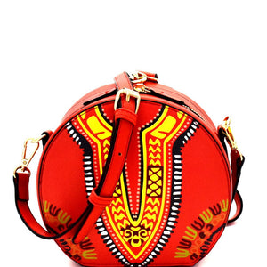 Wrist Handle Accent Ethnic Dashiki Print Round Shoulder Bag