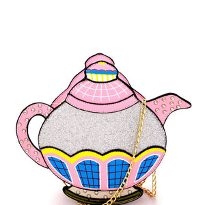 Vintage Color Block Teapot Theme Novelty Cross Body Bag