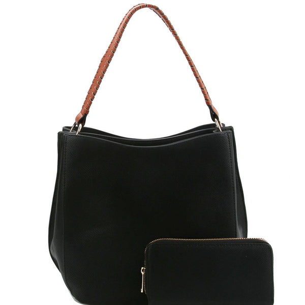 Double Compartment Two-Tone Hobo Purse and Wallet SET