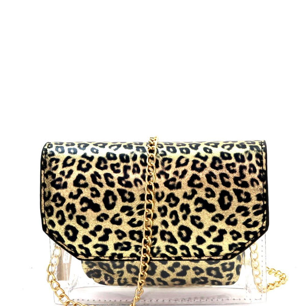 Transparent Clear Leopard Print 2 in 1 Flap Shoulder Bag