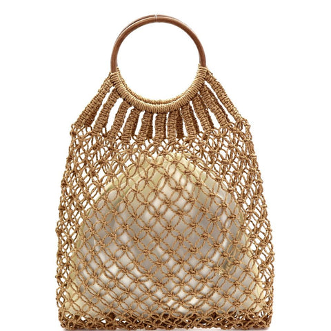 Round Bamboo Handle Straw Crochet Net 2 in 1 Hobo Bag