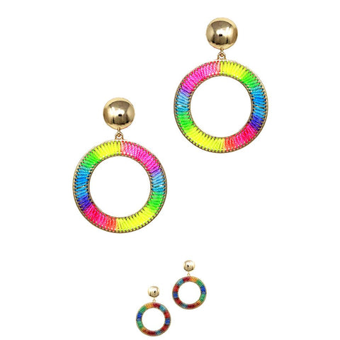 Mixed Neon Color Tread Open-cut Boho Round Earring
