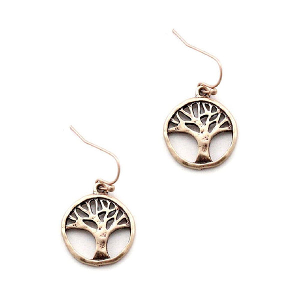 Metal Filigree Tree of Life Round Small Dangle Earring