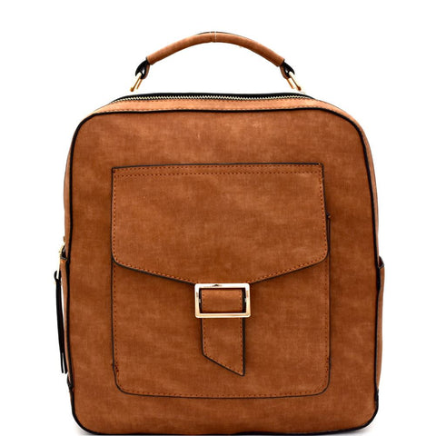 Multi-Pocket Textured Boxy Fashion Backpack