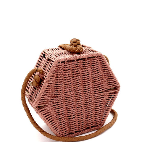 Handwoven Natural Straw Hexagon Boxy Shoulder Bag Crossbody