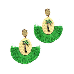 Thread Tassel Palm Tree Attache Straw Novelty Dangle Earring