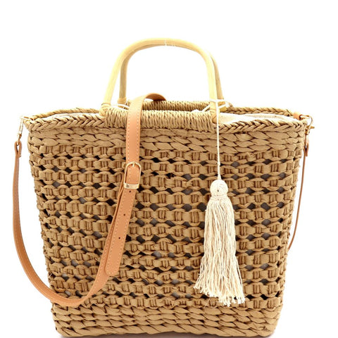 Thread Tassel Natural Straw Bamboo Handle 2 Way Satchel Bag
