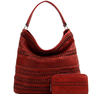Braid Accent and Woven Detail Single Strap PU Leather Boho Hobo Bag Purse Wallet SET