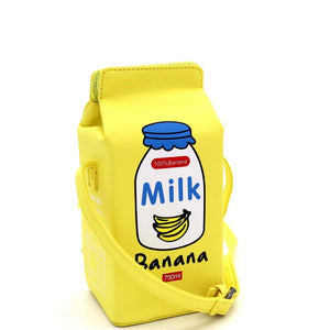 Unique Banana Milk Carton Figure Novelty Cross Body