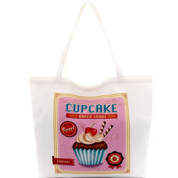 Cupcake Print Canvas Shopper Tote Bag